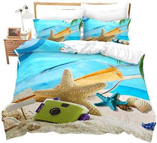 RONGXIE Floating Bottle On Tropical Sea Landscape Starfish Shell Beach - Double (200 X 200 Cm) - Duvet Cover & Pillowcase Set Bedding Quilt Case Single Double King Super King