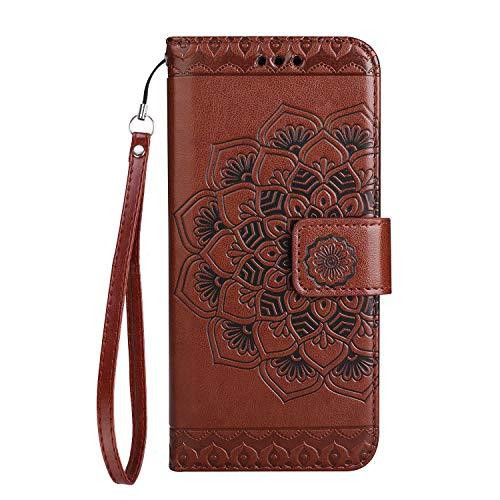 Moto G5 Hülle, SONWO Mandala Blumen Muster PU Leder Wallet Schutzhülle mit Karte Schlitz und Magnetic Closure für Moto G5, Braun