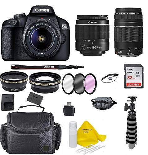 Canon EOS 3000D/Rebel T100/ EOS 4000D Kit with EF-S 18-55mm f/3.5-5.6 III Lens + Canon EF-S 75-300 Lens + Accessory Bundle +TopKnotch Deals Cloth