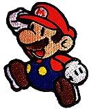 Super Mario Springen Fliegen Mario Bros Mario Kart Mario Videospiel-Figur Comic Kinder SuperMario Patch ''6,5 x 7,5 cm'' - Aufnäher Aufbügler Applikation Applique Bügelbilder Flicken Embroidered Iron on Patches
