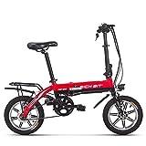 RICH BIT Bicicleta eléctrica RT-618, batería de Iones de Litio de 250 W 36 V * 10,2 Ah, Bicicleta de Ciudad Plegable de 14 Pulgadas para Adultos (Rojo)