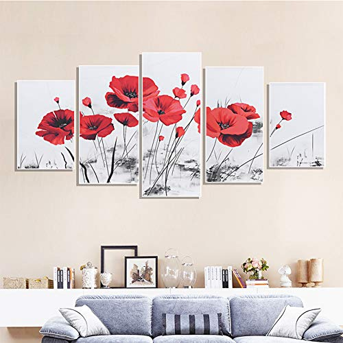 DGGDVP Pinturas de Pared 5 Paneles Conjunto de Pintura de Lienzo Flores Rojas Imagen de Arte de Pared Murales Póster Decoración de la Sala de Estar del hogar Tamaño 1 con Marco