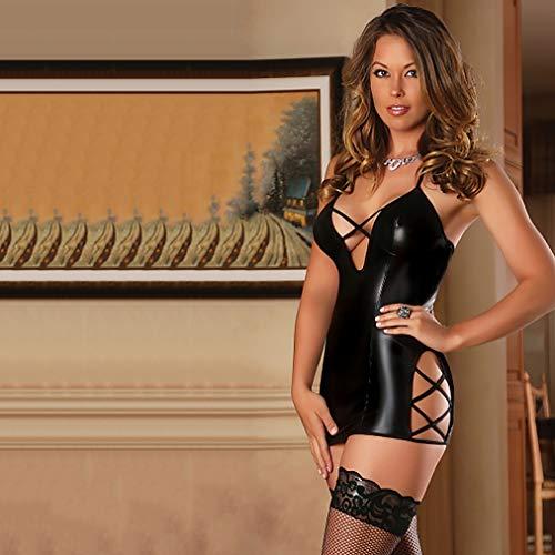 Wetlook Body Donna Sexy Pelle Babydoll Lingerie Sexy Hot per Sesso Scollo V Profondo Schiena Scoperta Top Latex Sexy Abbigliamento Donna Tuta,Nero,M