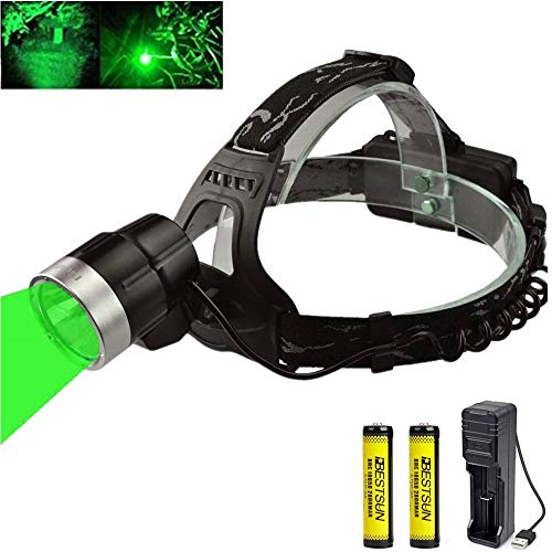 Linterna frontal de luz verde, impermeable 1000 lúmenes Linterna frontal de caza...