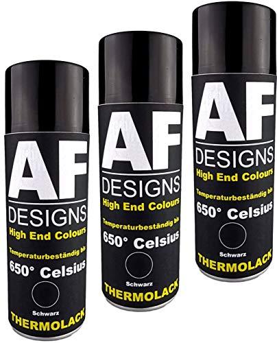 Alex Flittner Designs Thermolack Spray 3 Spraydosen Ofenlack Auspufflack Hitzebest. 650 °C Schwarz 400ml