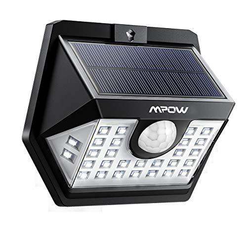 Mpow Solarlampe für Außen, Weitwinkel Solarleuchte Außen IP65 Wasserdicht Sensorkopf 30 LED Solarleuchte mit Bewegungsmelder Superhelles Weitwinkel Solarlampen für Garten, Garage, Balkon, Patio, Hof