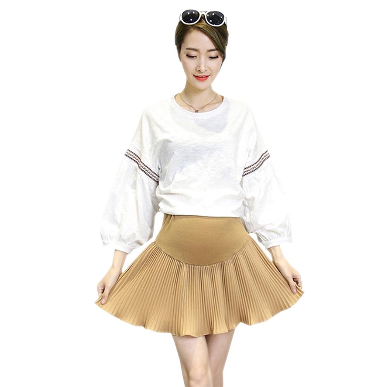 KINDOYO マタニティスカート、妊娠中の女性サマーシフォンプリーツスカート、Aラインスカート、調節可能なベルト、アンチ露出ライニング付