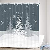 MERCHR Winter Fabric Shower Curtain, Christmas Trees Shower Curtains White Snowy Snowflake Gray Simple Grey Xmas Polyester Fabric Waterproof Bath Curtain, Bathroom Shower Curtains with Hooks, 69X70in