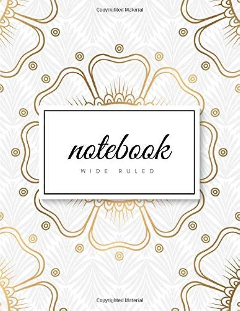 子犬現れる熱望するWide Ruled Notebook: Art Deco Golden Mandala on White Soft Cover | Large (8.5 x 11 inches) Letter Size | 120 pages | Lined Glam Notes (no margins) [並行輸入品]