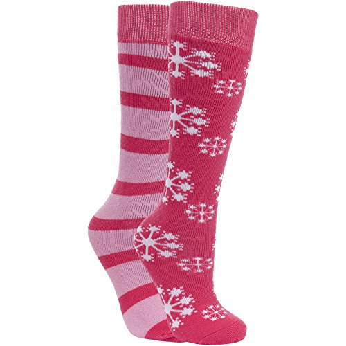 Trespass LORI - KIDS SKI TUBES (2 PAIR PACK) - Chaussettes de ski, enfants, rose - (SORBET FLOWER/SOFT PINK)