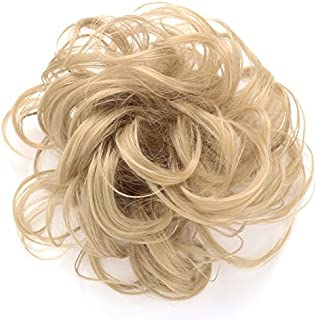 OneDor Synthetic Clip on/in Messy Hair Bun Extension Chignon Hair Piece Wig (25#-Light Golden Blonde)