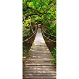 3D Door Mural Suspension Bridge Office Art Door Stickers for Interior Doors, Bedroom Living Room Bathroom House Decoration 77 x 200 cm