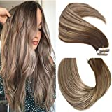 Mushroom Brown Hair Extensions 50g 20Pcs 18inch Tape In Hair Extensions Human Hair Ombre Dark Brown Thick End For Full Head No Tangle Silky Straight Balayage Extensions(MB#18'')