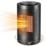 Space Heater, Mini Electric Ceramic Heater, Portable Space Heater 1500W / 750W with Overheat Protection & Tip-Over Protection Personal Heater with Adjustable Thermostat Fast Heating for Home & Office