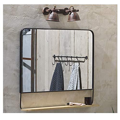 Nkuku Harini Miroir antique avec étagère en bois de manguier Noir