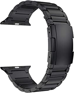LDFAS Compatible for Apple Watch Band 44mm/42mm, Titanium Metal Watch Strap with Double Button Clasp Compatible for Apple Watch Series 5/4/3/2/1, Black