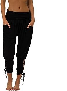 Qootent Women Yoga Pants Sportwear Lace-up High Waist Pockets Casual Leggings