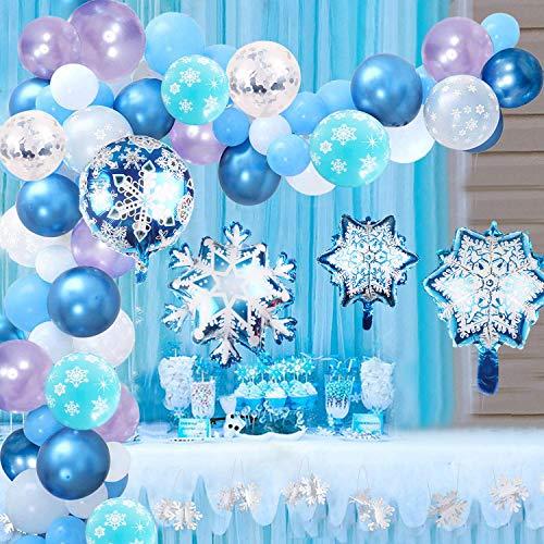 Hongyans Décoration Anniversaire Filles Princesse Décoration de Fête Congelée, Kit Arche Ballon Bleu Purple Ballons en Aluminium Flocon de Neige pour Fête de Hiver Noël Princesse Cosplay