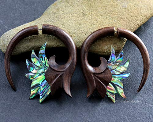 Jade /& Abalone Carved Feather Earrings