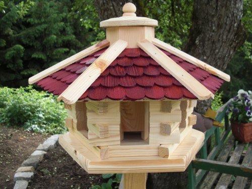 Vogelhaus -rund Rot mittel-(V040) Vogelhäuser Vogelfutterhaus Vogelhäuschen-aus Holz- Schreinerarbeit-