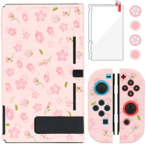 Aosai Case for Nintendo Switch, Protective Case Cover for Nintendo Switch and Joy Con Controller with 4 Thumb Grips and 2 Glass Screen Protector (Sakura Pink)