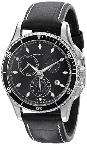 Hamilton Herren Chronograph Quarz Uhr mit Leder Armband H37512731
