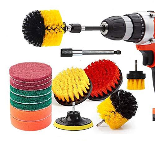 Rain Queen - Juego de 14 cepillos para taladro, cepillo de limpieza de taladro eléctrico, coche, cuarto de baño, cocina, azulejos, neumáticos, ventana