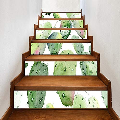 A.Monamour Pegatinas de Escalera Autoadhesivos 3D Pintura De Acuarela Cactus Suculentas Jardín Botánico Vinilo Impermeable Pegatinas de Pared Adhesivos Etiquetas Pegatinas de Baldosas 6 PCs