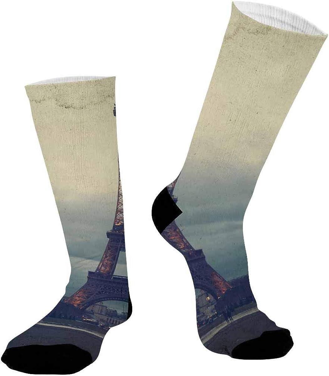 INTERESTPRINT Sublimated Crew Socks Athletic Running Sports Retro Eiffel Tower, Paris