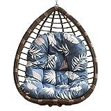 Cojín de asiento para colgar en interiores, cojín de jardín, columpio para silla de huevo, para colgar con cremallera, color azul