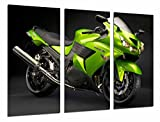 Poster Fotográfico Moto Kawasaki Verde, carretera, Motorista Tamaño total: 97 x 62 cm XXL