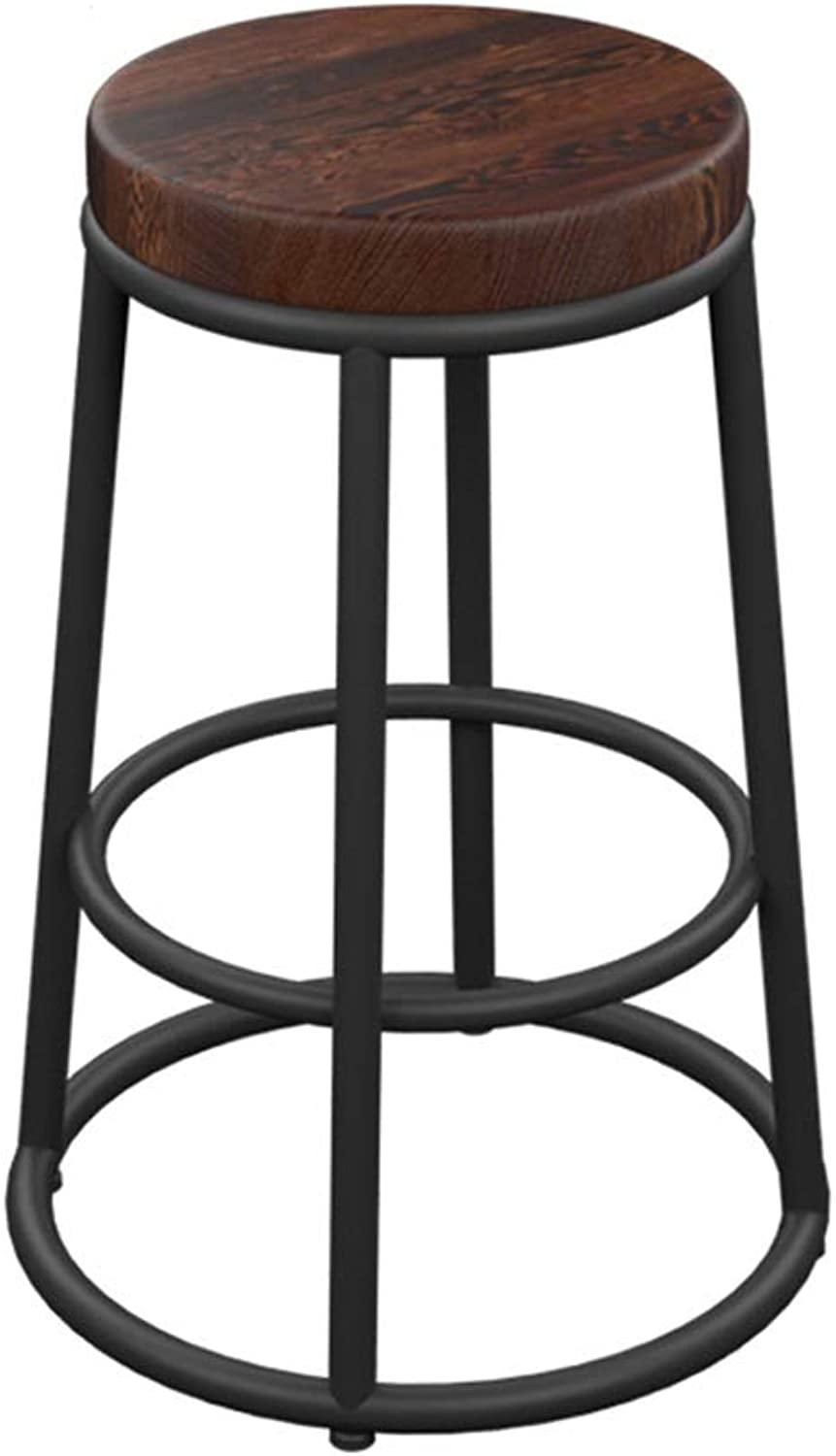 Iron Art Solid Wood Bar Stool Round Retro High Foot Counter Chairs European Style Cafe Metal Seat Cosmetology Stool 0522A (color   Wooden seat, Size   65cm Seat Height)