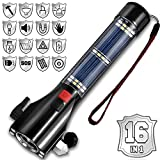 SINSEN Car Safety Hammer, Seatbelt Cutter and Window Glass Breaker, Solar Powered Flashlight for Roadside Car Emergency Escape Kit, Self Defense Tactical Torch with SOS, Alarm, USB Charging, Magnet