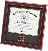 product image for flag connections Firefighter Medallion Certificate Frame, Mahogany Made
