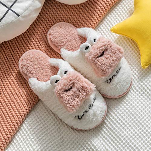 B/H Zapatillas de espuma viscoelástica para hombre, zapatillas de invierno de felpa de algodón, zapatillas de tela para el hogar para hombre, color rosa