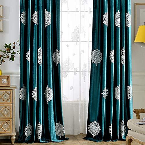 Leeva Blackout Velvet Window Curtains for Living Room, Luxury Embroidery Medallion Pattern Elegant Room Darkening Window Curtain Set of 2 Panels, 52x84, Green