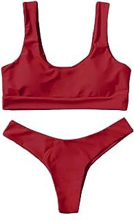 Bsjmlxg Womens Two Piece Sexy Scoop Neck Straps Cutout High Cut Thong 2PCS Bikini Sets Yoga Pure Color Swimsuit