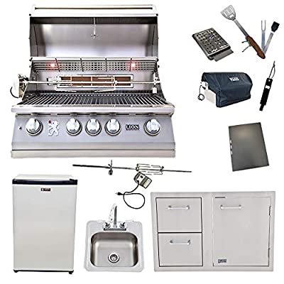 Lion 32-Inch Liquid Propane Grill L75000 with Refrigerator and Door and Drawer Combo and Drop-in Sink with and 5 in 1 BBQ Tool Set Best of Backyard Package Deal