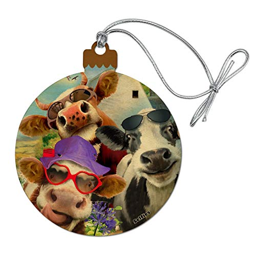GRAPHICS & MORE Udderly Cool Cow Farm Selfie Wood Christmas Tree Holiday Ornament