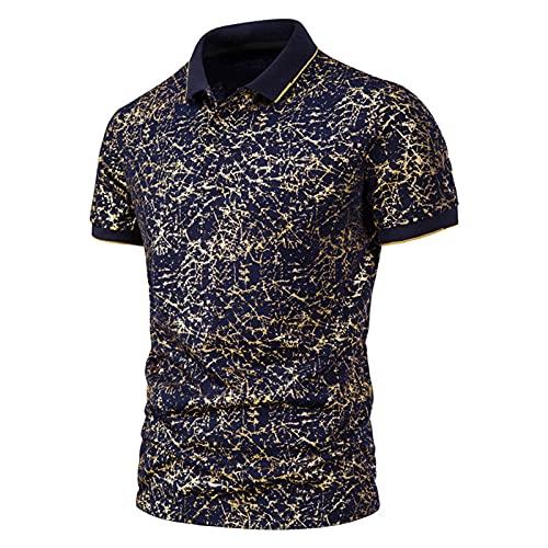 SSBZYES Mens T-Shirts Mens Polo Shirts Summer Mens Short-Sleeved T-Shirts Mens Fashion Cracked Bronzing Printing Short-Sleeved Lapel T-Shirts Navy