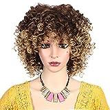 MEIRIYFA peluca rubia rizada afro con flequillo longitud del hombro peluca afro rizado peluca de pelo rizado peluca sintética resistente al calor completa para mujeres negras