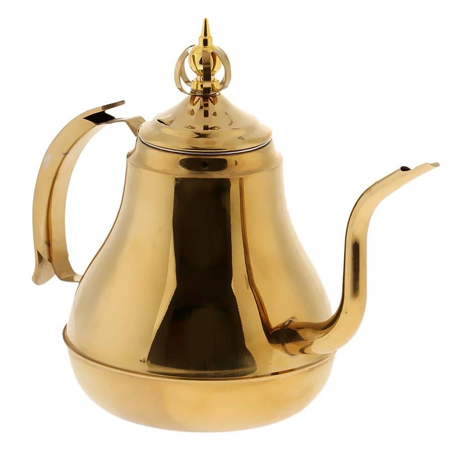 小間標高プログレッシブウォーターポット コーヒーポット グースネック コーヒーやかん ドリップケトル ステンレス鋼 - ゴールド, 1.8L