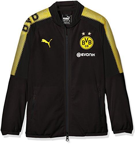 PUMA Kinder BVB Poly Jacket Sponsor Logo 2 Side Pockets with z Jacke, Black-Cyber Yellow, 176