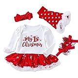TMOYJPX Navidad Disfraz Niña Vestido Niño 0-24 Meses Princesa Invierno, 'My 1st Christmas' Conjunto Ropa Bebe Niña, Mono de Falda + Banda + Calcetines (A#01, 12-24 meses)