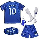 BIRDBOX Youth Sportswear Chelsea Christian Pulisic 10 Kids Home Soccer Jersey/Shorts Bag Keychain Football Socks Set (Home, 24 (6-7 Years))