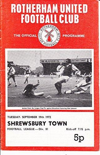 Rotherham United v Shrewsbury Town Division Three football programme Tues. 19th Sep 1972
