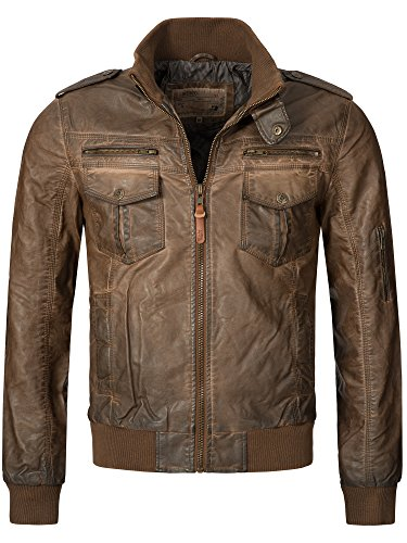 Indicode Herren Pawel Lederjacke aus Leder-Imitat m. Stehkragen | Kunstleder Jacke Bequeme Herrenjacke f. Biker Übergangsjacke Men Faux Leather Jacket Coole Bikerjacke f. Männer in Brown L
