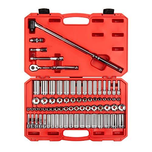 TEKTON 3/8 Inch Drive 6-Point Socket & Ratchet Set, 74-Piece (1/4-1 in., 6-24 mm) | SKT15311