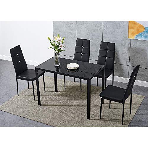 Dining Table and Chairs 4 Seater with Glass Room Leather Kitchen Furniture Set (Black Table105cm + 4 Black Diamond Chair)