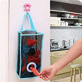 biggroup pcs Kitchen Hanging Type Breathable Mesh Grid Garbage Bags Storage Bags Convenient Extraction Pouch Bags  Blue